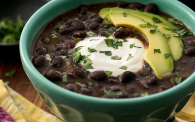 Black Bean Soup with Tofu Sour Cream & Avocado