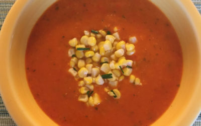 Sweet Pepper Soup with Fresh Corn & Chive Relish