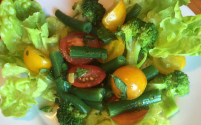 Heirloom Tomato, Green Bean & Broccoli Salad with Summer Citrus Vinaigrette