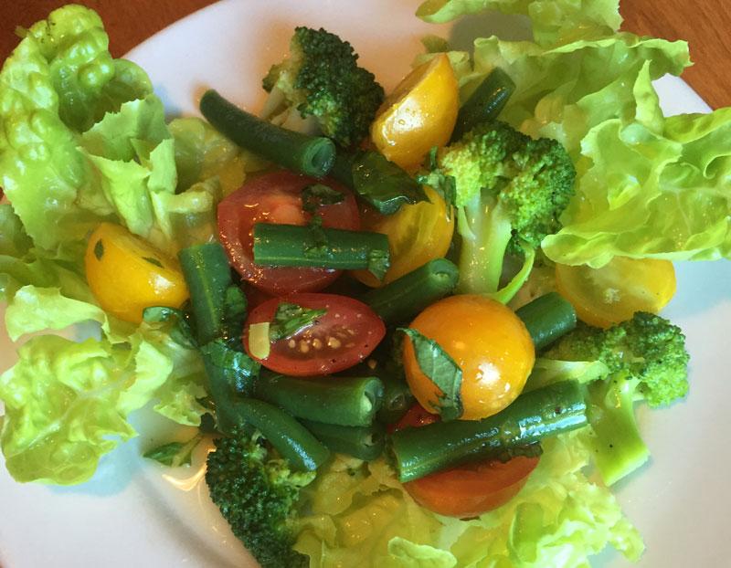 Heirloom Tomato, Green Bean & Broccoli Salad with Summer Citrus Vinaigrette