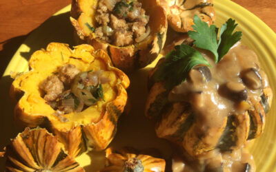 Oven-Roasted Mini-Squash with Herbed Bread Stuffing & Mushroom Gravy