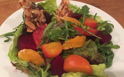 Beet & Arugula Salad with Almond Brittle & Winter Citrus Vinaigrette